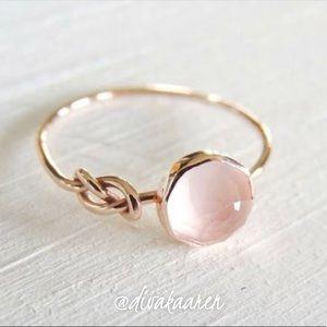 Rose Quartz 18k Gold Knotted Ring